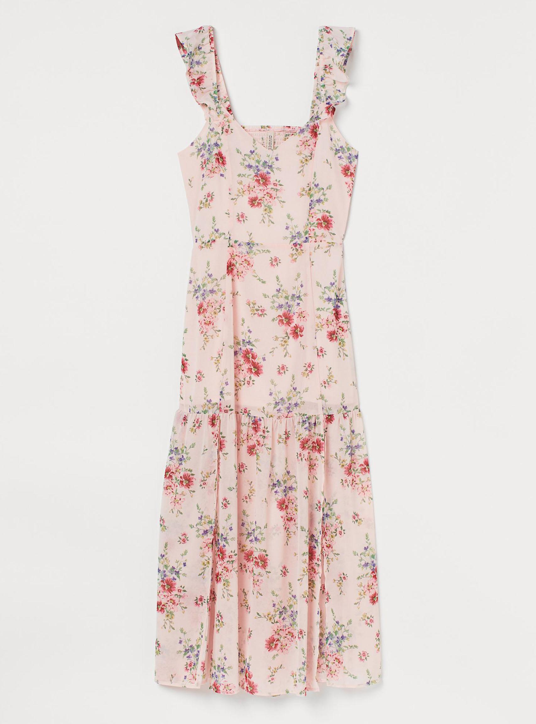 rosa-blommig-midiklänning-med-axelband-från-H&M